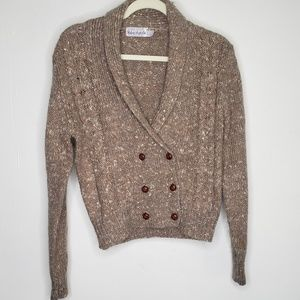 VINTAGE DOUBLE BREASTED SWEATER CARDIGAN TAN GRAY
